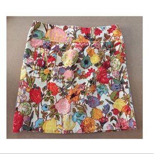 Anthropologie Elevenses floral corduroy skirt 4